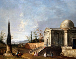 Elegant Figures In Front Of A Domed Classical Church by Michele Marieschi