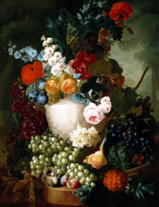 Roses, Poppies And Other Flowers In A Sculptured Vase With Fruit by Jan Van Os
