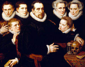A Group Portrait Of A Gentleman Aged 57 by Adriaen Thomasz