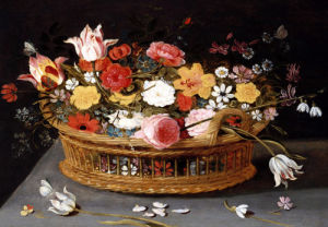 Roses And Other Flowers In A Wicker Basket by Ambrosius Brueghel