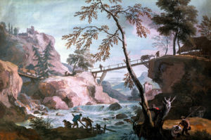 A River Landscape With Anglers By A Broken Weir Below A Footbridge by Marco Ricci