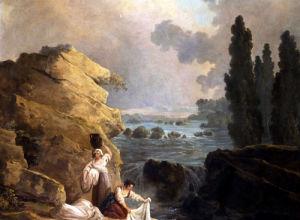Washerwoman By A Cascade by Hubert Robert