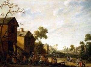 Peasants Merrymaking In A Village Street by Joost Cornelis Droochsloot