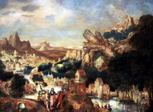An Extensive Rocky Landscape With Christ On The Way To Emmaus by Herri Met De Bles