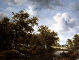 A Wooded Landscape With An Angler And Other Figures by Meindert Hobbema