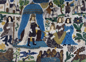 A Bead And Raised Work Panel Depicting Esther And Ahasuerus by English School