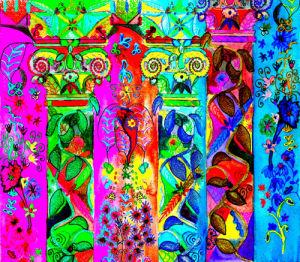Graffiti pillars by Luisa Gaye Ayre