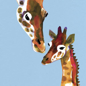Mother and Baby Giraffe by Louise Cunningham