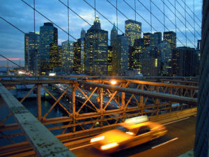 New York's Brooklyn Bridge at twilight by Wayne Williams