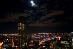 New York bridges at night by Wayne Williams