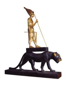 Statuette of King Tutankhamun upon a Leopard, c.1340 BC by Egyptian Art