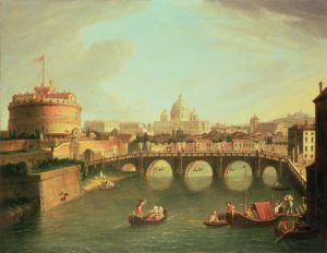 A View of Rome with the Bridge & Castel St. Angelo by Gaspar Van Wittel