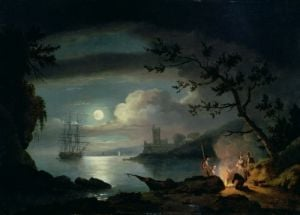 Teignmouth by moonlight by Thomas Luny