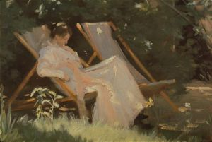 The artist's wife sitting in a garden chair at Skagen by Peder Severin Kröyer