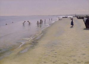 Summer Day at the South Beach of Skagen, 1884 by Peder Severin Kröyer