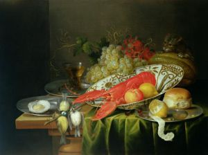 Still Life of Oysters and Lobsters by Reynier Van Der Gherwen