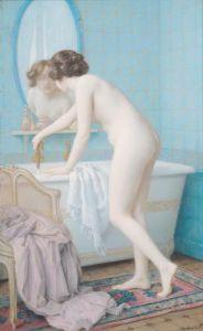 Young Woman Preparing her Bath by Jules Scalbert