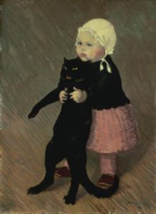 A Small Girl with a Cat, 1889 by Theophile-Alexandre Steinlen
