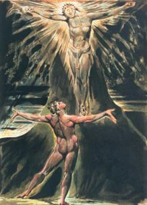 Albion before Christ crucified on the Tree of Knowledge by William Blake