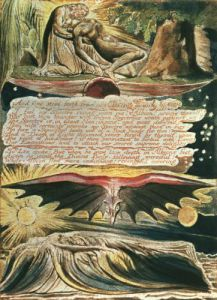Los supported by Christ; Albion's burial by William Blake