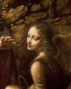 The Virgin of the Rocks, detail of the angel, c.1508 by Leonardo da Vinci
