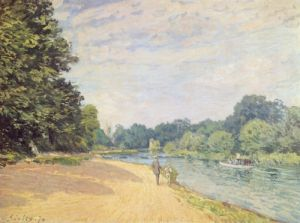 The Thames with Hampton Church, 1874 by Alfred Sisley