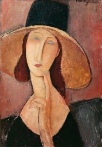 Portrait of Jeanne Hebuterne in a large hat, c.1918 by Amedeo Modigliani