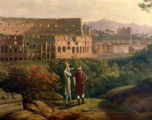 Goethe visiting the Colosseum in Rome, c.1790 by Jacob-Philippe Hackert