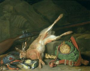 Still Life of a Hare with Hunting Equipment by Hieronymus Galle The Elder