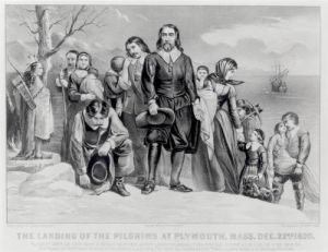 The Landing of the Pilgrims at Plymouth, 1620 by N. And Ives Currier