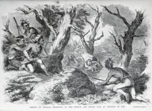 Defeat of General Braddock in Virginia in 1755 by American School