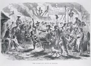 The Stamp Act Riots at Boston, 25th August 1765 by American School