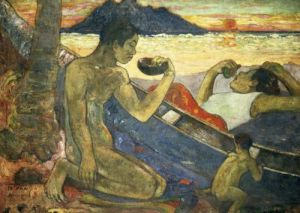 A Canoe (Tahitian Family), 1896 by Paul Gauguin