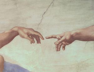 Creation of Adam (Detail - hands) by Michelangelo