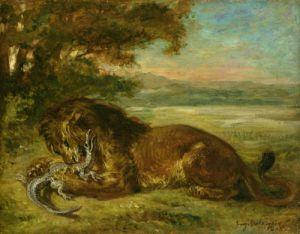 Lion and Alligator, 1863 by Eugene Delacroix