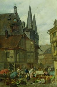 The Marketplace in Wernigerode, 1861 by Charles Hoguet