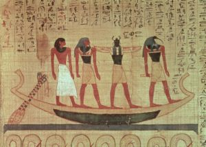 Man being transported to the afterlife by Egyptian Art