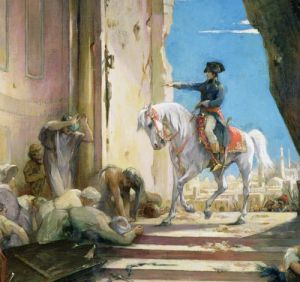 Napoleon Bonaparte in the Grand Mosque at Cairo (detail) by Henri Levy