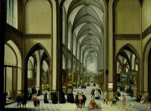 Interior of Antwerp Cathedral by Hendrik Van Steenwyck
