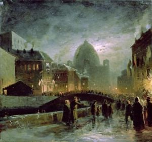 Illuminations in St. Petersburg, 1869 by Fedor Aleksandrovich Vasiliev
