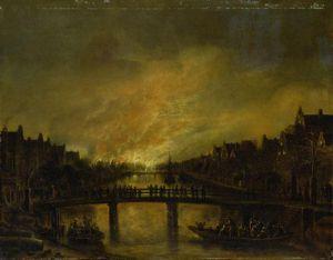 Blaze in Amsterdam by Aert Van Der Neer