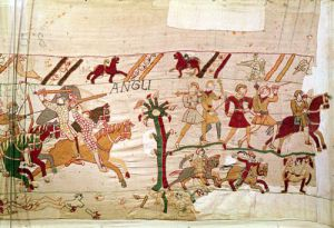 And the English flee, detail from the Bayeux Tapestry by English or French School