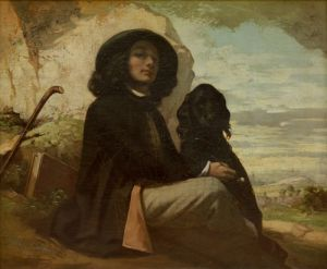 Courbet with his Black Dog 1842 by Gustave Courbet