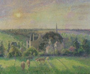 The Church and Farm of Eragny 1895 by Camille Pissarro