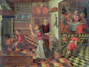 Interior of the Kitchen the Supper at Emmaus by Flemish School