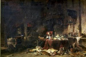 Interior of an Alchemist's Study by Louis Eugene Gabriel Isabey