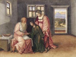 Isaac Blessing Jacob c.1520 by Girolamo da Treviso II Girolamo Pennacchi