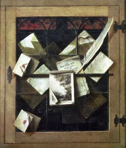 Trompe l'oeil with letters and notebooks 1665 by Cornelis Norbertus Gysbrechts