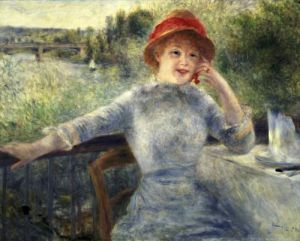 Alphonsine Fournaise at The Grenouillere 1879 by Pierre Auguste Renoir