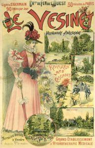 Poster for the Chemins de Fer de l'Ouest to Le Vesinet c.1895 by Albert Robida